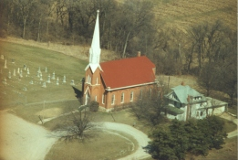 aerial view of church